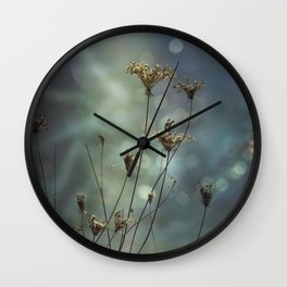 Queen Anne's Lace on Bokeh Background Wall Clock