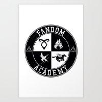 fandom Art Prints featuring Fandom Academy by Thg Fashion