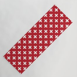 Criss Cross   Plus Sign   Red and White Yoga Mat