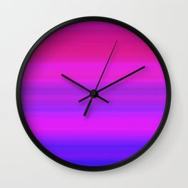 Neon Pink Blue Striped Gradient Wall Clock