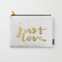 Just Love Heart Gold Watercolor Brushstroke Classic Typography Calligraphy Carry-All Pouch