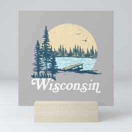Vintage Wisconsin Dock on a Lake Mini Art Print