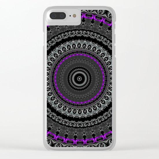 Black White and Purple Mandala Clear iPhone Case