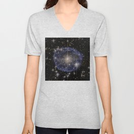Blue Bubble Nebula Unisex V-Neck