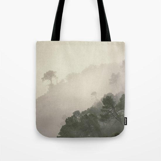 """""""Mountain light II"""". Foggy forest. Tote Bag"""
