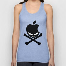 Apple Skull and Crossbones Androids Mens white T-Shirt Funny Humor Geek Unisex Tank Top