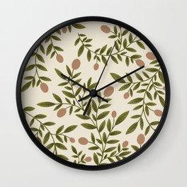 Peach & Leaves Botanical Pattern  Wall Clock