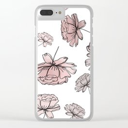 Hand Drawn Peonies Dusty Rose Clear iPhone Case