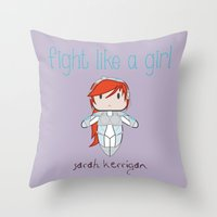 starcraft Throw Pillows featuring Fight Like a Girl - Starcraft's Kerrigan by ~ isa ~