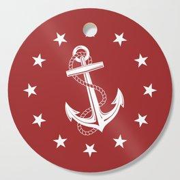 Nautical Anchor and Stars Cutting Board