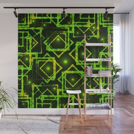 Sparkling green rhombuses and squares with highlights in the intersection on a dark background. Wall Mural