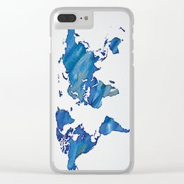 Blue World Map 01 Clear iPhone Case