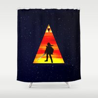 legend of zelda Shower Curtains featuring LEGEND OF ZELDA TRIANGLE by kattie flynn