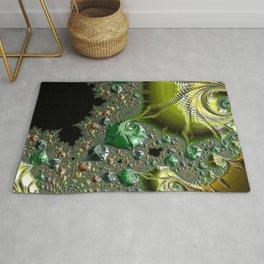Green Gold Fractal Design Like Sea Shell Rug