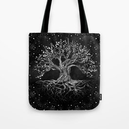 Tree of Life Drawing Black and White Tote Bag
