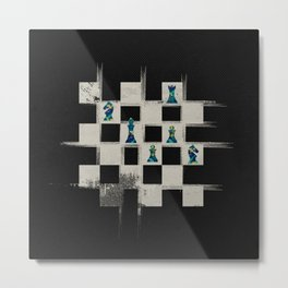 Chessboard and Marble Chess Pieces composition Metal Print