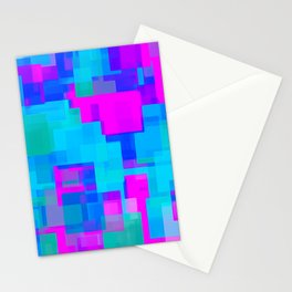pink blue and green square abstract background Stationery Cards
