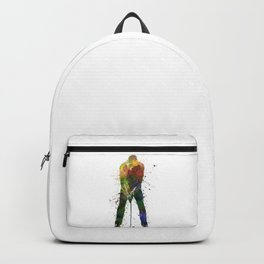 man golfer putting silhouette Backpack