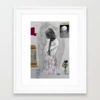 poem Framed Art Prints featuring moon poem by LouiJoverArt