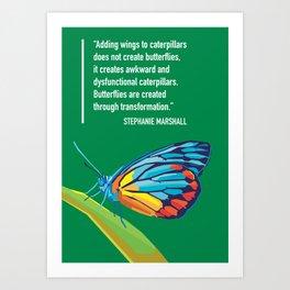 Butterfy on pop art colorful Art Print