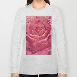 Watercolor Rose Red And Pink Shades Long Sleeve T-shirt