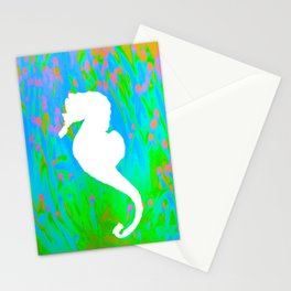 White Seahorse in a neon ocean Stationery Cards