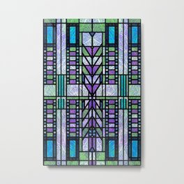 Aqua and Green Art Deco Stained Glass Design Metal Print