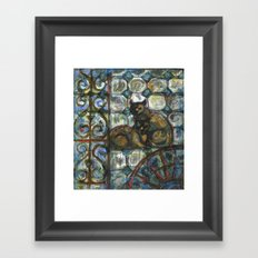 Cats in the patio. Framed Art Print