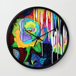Rainbow Rose Wall Clock