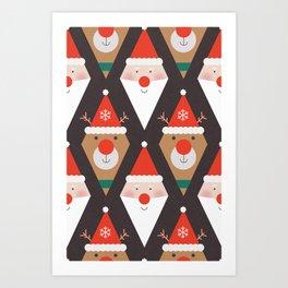 Santa & Rudolph (Patterns Please) Art Print