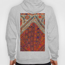 Orange Wildflower Sunshine III // 18th Century Colorful Rusty Red Bright Blue Metallic Happy Pattern Hoody