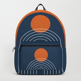 Mid Century Modern Geometric 83 in Navy Blue and Orange (Rainbow and Sun Abstraction) Backpack