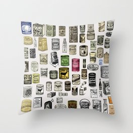 Vintage Victorian food cans Throw Pillow