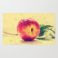 peach Area & Throw Rugs featuring Peach  by Tanja Riedel