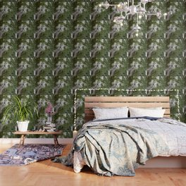 Birch Bark Pattern Green and White Wood Pattern Bring the Outdoors In Wallpaper