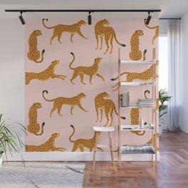 Leopard jaguar pink memphis pattern Wall Mural