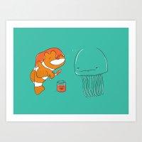 jellyfish Art Prints featuring Jellyfish by Lili Batista
