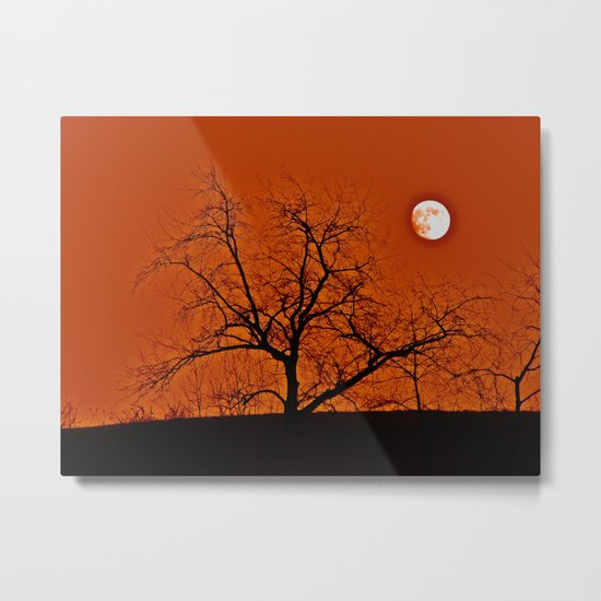 Red Sky Moon Metal Print