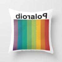 polaroid Throw Pillows featuring POLAROID by WordsnStripes