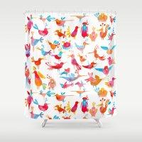 takmaj Shower Curtains featuring Birds by takmaj