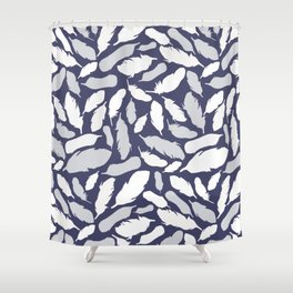 Feather Pattern Blue Shower Curtain