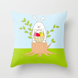 funny rabbit on the stump Throw Pillow