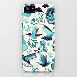 Hummingbird summerdance, Blue iPhone Case