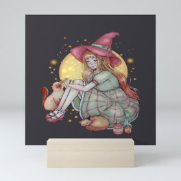 Cozy witch and cats Mini Art Print