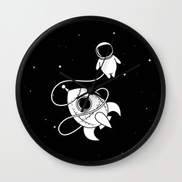 Little Astronaut with Rocket in Space Wall Clock