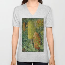 Inflorescences, shrubs, and tropical wildflowers in Western Australia still life painting Unisex V-Neck