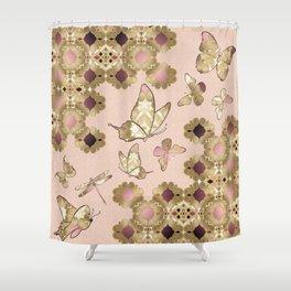 Marrakesh Butterflies rose pink Shower Curtain