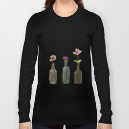 Flowers in Glass Bottles . Pastel Colors Long Sleeve T-shirt