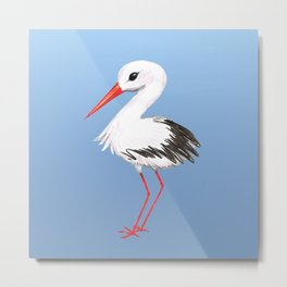Cute stork watercolor painting Metal Print