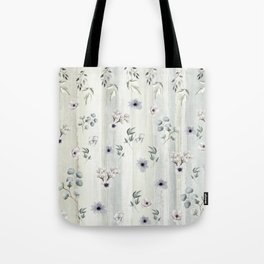Winter Watercolor Flowers and Leaves Tote Bag